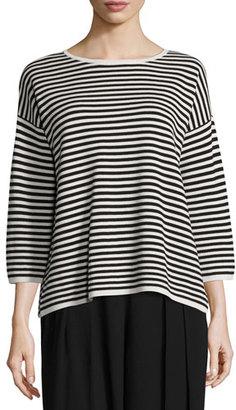 Eileen Fisher Striped 3/4-Sleeve Interlock Top, Bone/Black, Plus Size $318 thestylecure.com