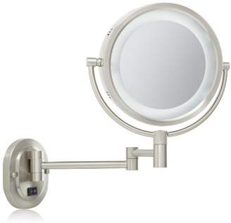 Jerdon HL65ND 8-Inch Lighted Direct Wire Wall Mount Mirror with 5x Magnification