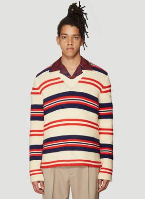 Gucci V-Neck Stripe Knit Sweater in Cream