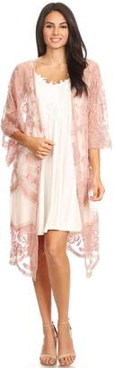 Anna-Kaci Womens Long Embroidered Lace Kimono Cardigan Half Sleeves