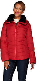 Dennis Basso Water Resistant Quilted Puffer w/Faux Fur Collar