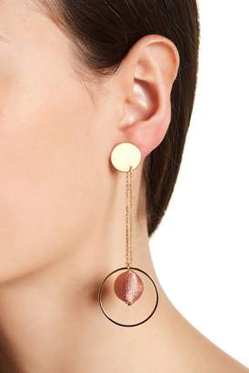 Rebecca Minkoff Disc & Hoop Threaded Pompom Front to Back Dangle Earrings