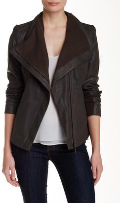 Rachel Rachel Roy Drape Front Genuine Leather Jacket $400 thestylecure.com
