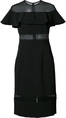 Nicole Miller sheer panel ruffled dress $420 thestylecure.com