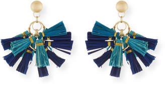 Neiman Marcus Akola Raffia Tassel Statement Earrings, Blue