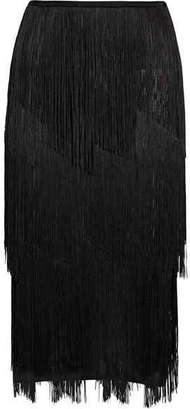 TOM FORD - Fringed Stretch Ribbed-knit Midi Skirt - Black