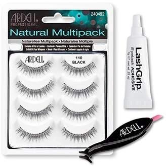 Ardell Fake Eyelashes Value Pack - Natural Multipack 110 (Black), LashGrip Strip Adhesive, Dual Lash Applicator - Everything You Need For Perfect False Eyelashes by