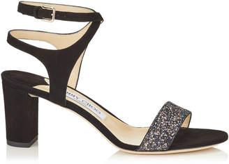 Jimmy Choo MARINE 65 Black Suede and Twilight Glitzy Glitter Fabric Sandals