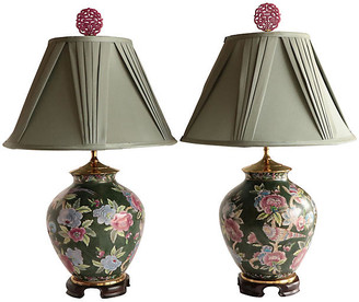 One Kings Lane Vintage Chinoiserie Floral Table Lamps - Set of 2 - Pythagoras Place