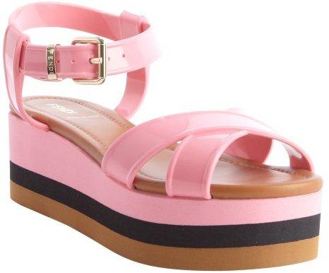 Fendi pink rubber crisscross strapped striped platform sandals