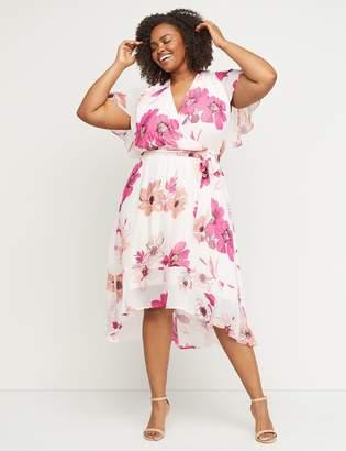 Lane Bryant High-Low Faux-Wrap Fit & Flare Midi Dress