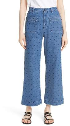 Ulla Johnson Niko Polka Dot Crop Flare Jeans