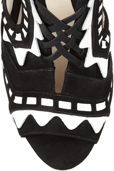 Webster Sophia Riko cutout patent-leather and suede sandals
