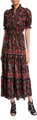 Max Studio Floral Print Smocked Maxi Dress
