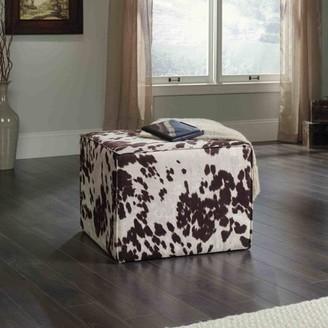 Sauder New Grange Elsie Ottoman, Brown/White Cowhide Pattern
