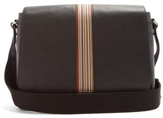 Paul Smith Signature Stripe Leather Messenger Bag - Mens - Black