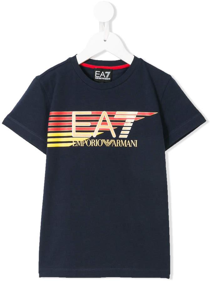 Ea7 Kids striped logo print T-shirt