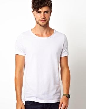Asos T-Shirt With Raw Edge Scoop Neck - White