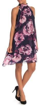 SL Fashions Floral Mock Neck Shift Dress