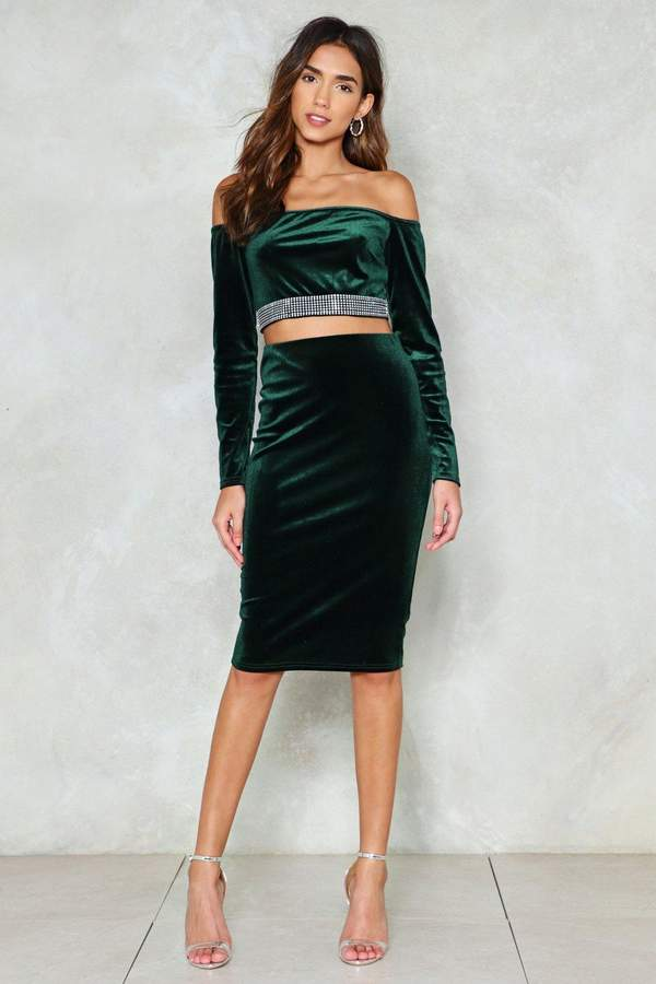 nastygal Feel For You Velvet Midi Skirt