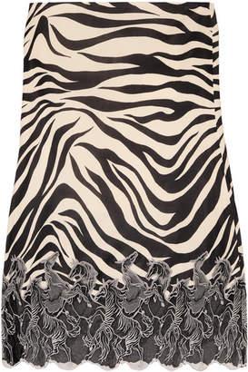 Chloé Lace-trimmed Zebra-print Satin Midi Skirt - Zebra print