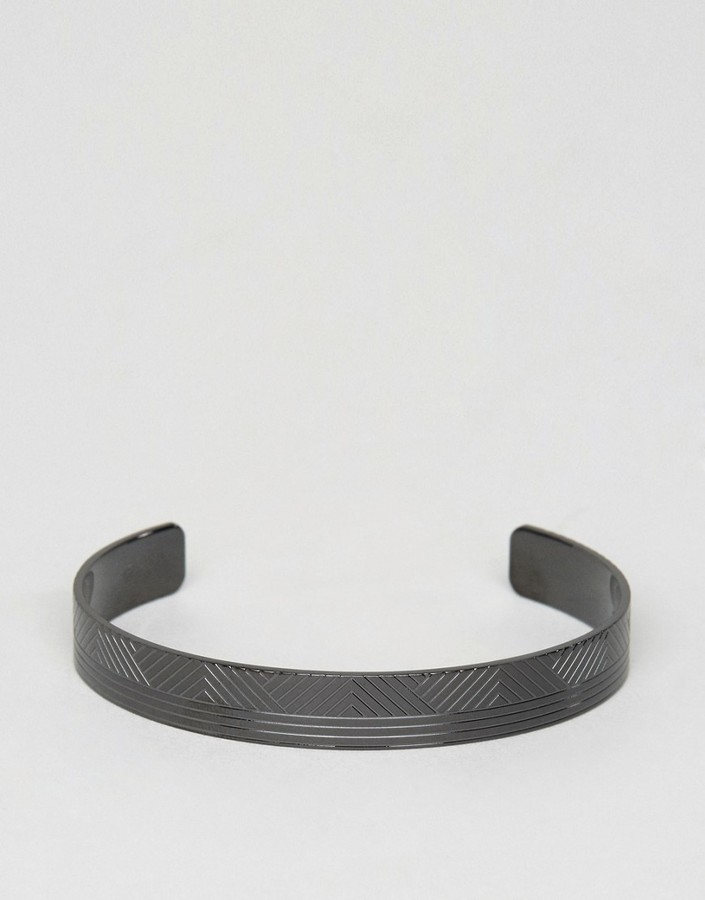 Hugo Boss BOSS by Hugo Boss Berto Metal Cuff Bracelet In Black