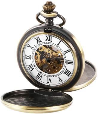 Hunter AMPM24 Men's Vintage Bronze Polished Case Double Mechanical Hand-wind Skeleton Dial Pendant Pocket Watch + Gift Box WPK228