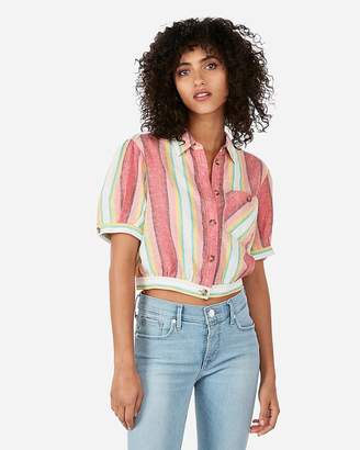 Express Striped Cropped Button Front Linen-Blend Pocket Tee