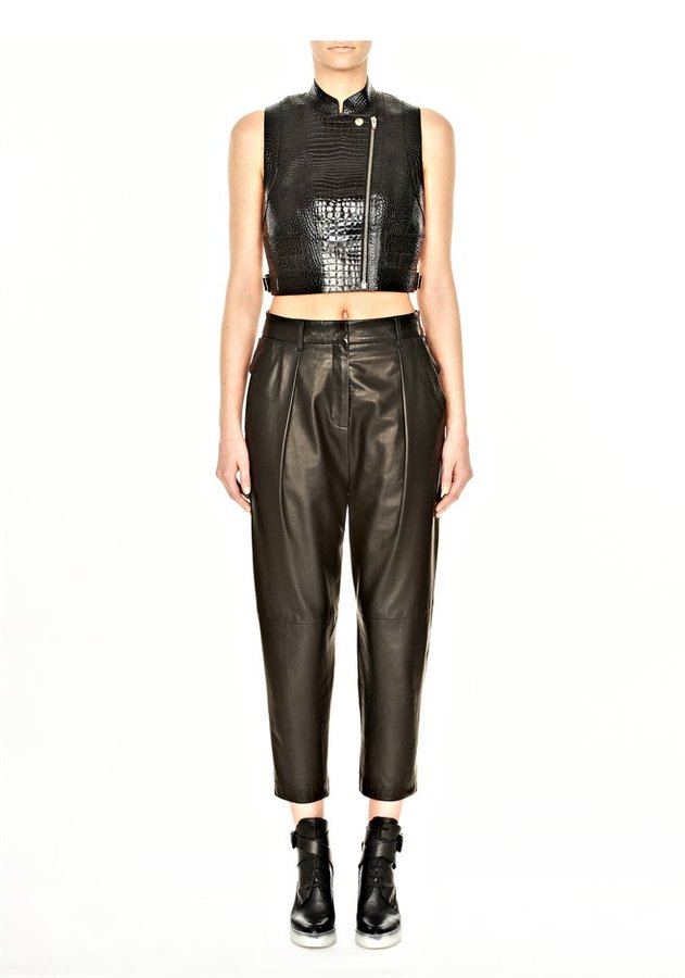 Alexander Wang Pleat Front Wool And Leather Pant