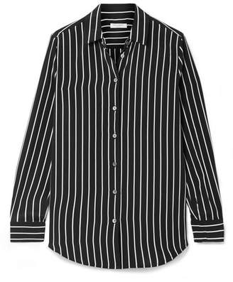 Equipment Essential Striped Silk Crepe De Chine Shirt - Black
