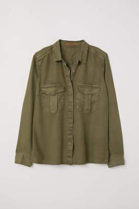 H&M Lyocell Utility Shirt - Khaki green - Women