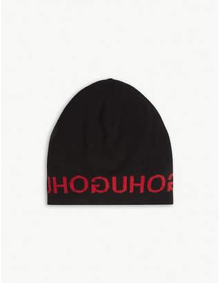 HUGO Logo wool and cashmere-blend beanie