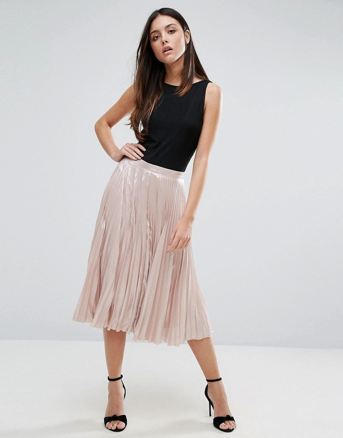 Warehouse Pleated Lame Skirt