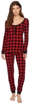 Plush Thermal Buffalo Plaid PJ Set Women's Pajama Sets