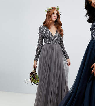 Maya long sleeve wrap front maxi dress with delicate sequin and tulle skirt in charcoal