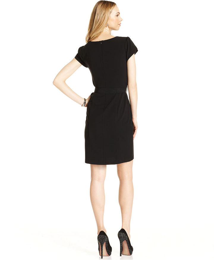 Amy Byer Petite Dress, Cap-Sleeve Belted Sheath