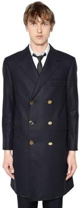 Thom Browne Melton Wool Trench Coat W/ Back Belt