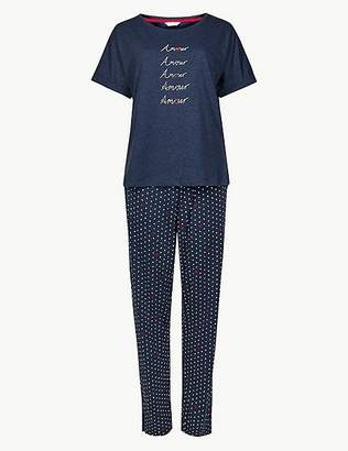 Marks and Spencer Cotton Rich Printed Short Sleeve Pyjama Set