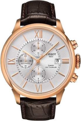 Tissot Chemin Des Tourelles Automatic Chronograph Leather Strap Watch, 44mm