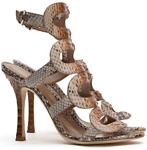 Sergio Rossi Python Ankle Strap Sandals