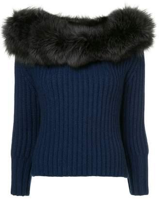 Eleventy fur trimmed jumper