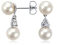 Premier Akoya Cultured Pearl and Drop Diamond Earrings in 18k White Gold