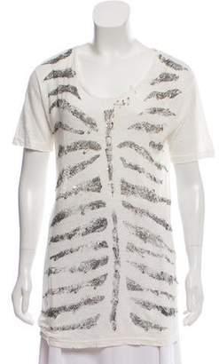 Pierre Balmain Distressed Linen T-Shirt