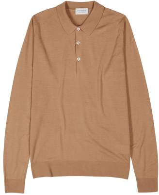 John Smedley Camel Wool Polo Shirt