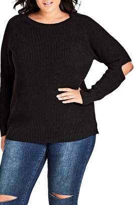 City Chic Elbow Kisses Cotton Blend Shaker Sweater
