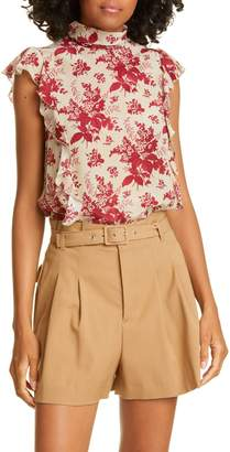RED Valentino Floral Ruffle Trim Silk Top