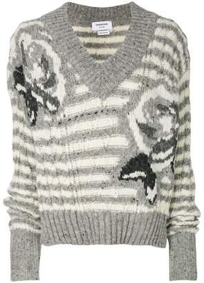 Thom Browne Rose Intarsia Tweed V-Neck Pullover