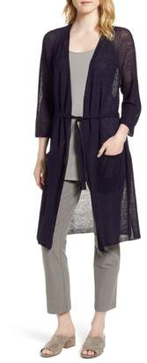 Eileen Fisher Long Organic Linen Blend Kimono Cardigan