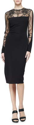David Meister Long-Sleeve Embroidered Jersey Cocktail Dress $495 thestylecure.com