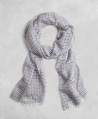 Brooks Brothers Golden Fleece Cashmere Silk Gingham Scarf